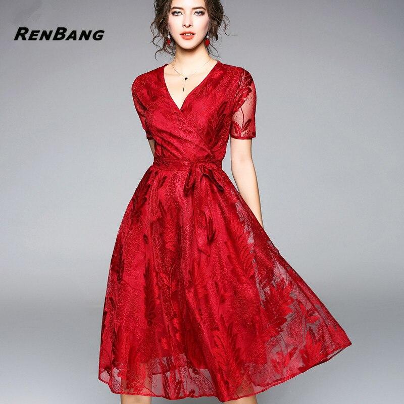 5d31b5e7b6b RENBANG 2018 Summer Dresses Women s Fashion Slim V-neck Sexy Vestido  European Style Big Swing