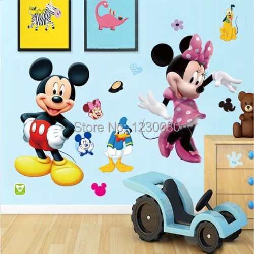 Mickey Minnie Mouse Niños Habitación Hogar Decoración Pared Calcomanías de dibujos animados Reino Unido 79