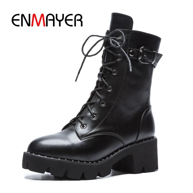 ENMAYER 2018 women boots round toe high heel ankle lace up  zipper ZYL917