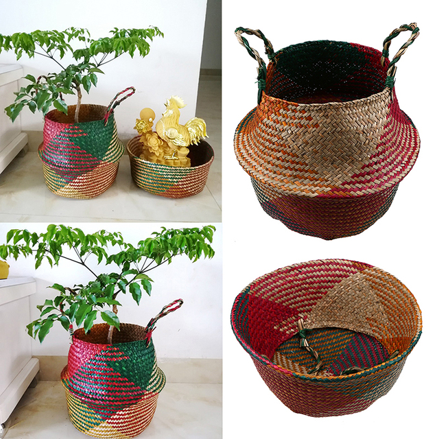 WHISM Seagrass Foldable Straw Hanging Flower Pots Handmade