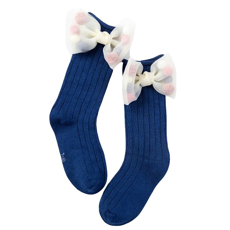 35c1fde62 New Cute Children Socks With Bows Toddlers Girls Knee High Socks Cotton  Long Boot Socks For
