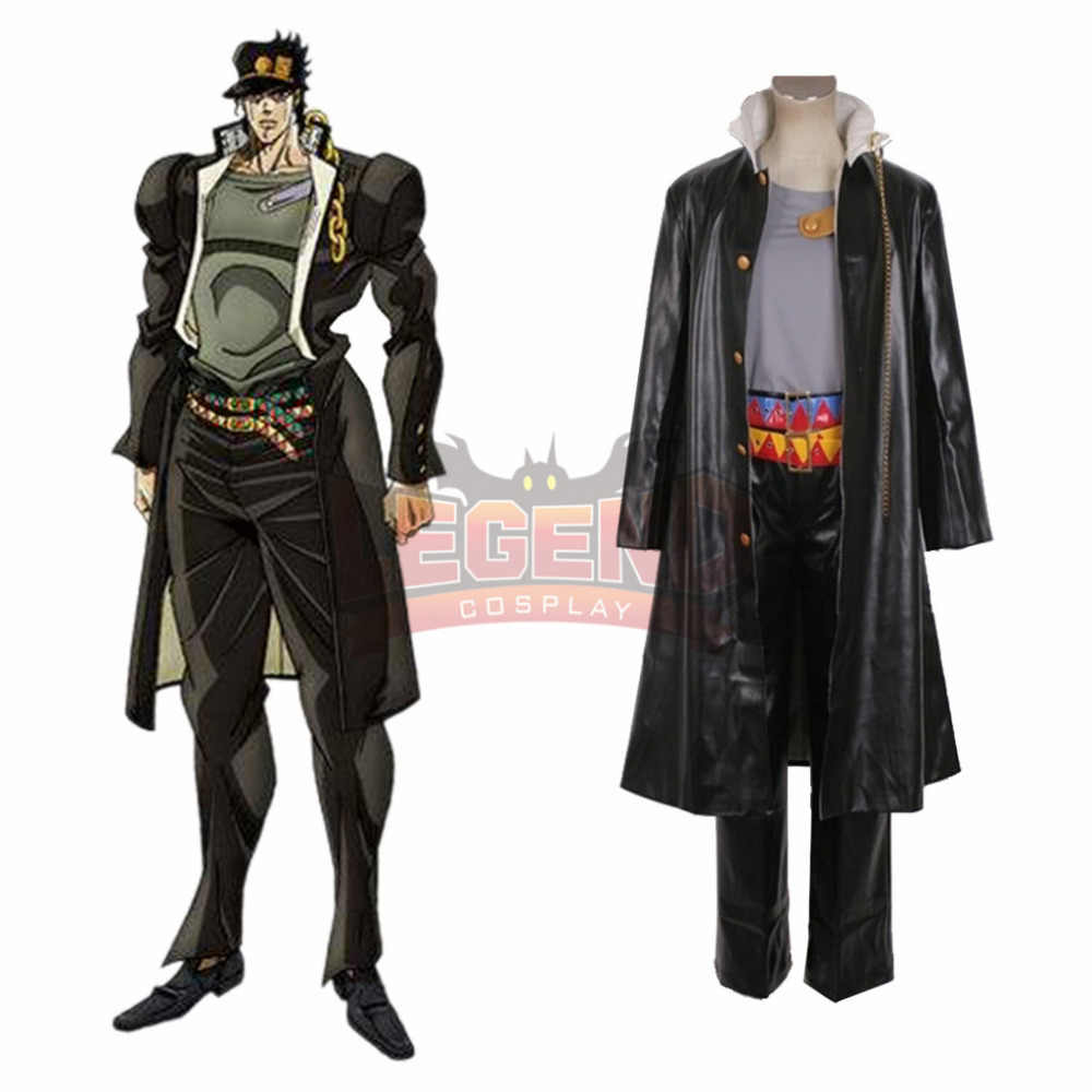 Kujo Jotaro Cosplay JoJo/'s Bizarre Adventure Costume Unisex PU Leather Anime