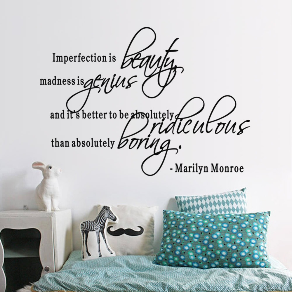 US $3.06 20% OFF|Imperfection Is Beauty MARILYN MONROE Vinyl Wall Quotes  Lettering Quotes Girls Bedroom Stickers Living Room Home Decor Decal-in  Wall ...