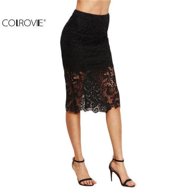 COLROVIE Ladies Sexy Style Skirts Black Lace Split Back Pencil Knee Length Sheath Work Wear Elegant Skirt