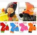 Crianças de Lã quente Tampas de Cinco Estrelas Jogo Lenços Chapéus Coloridos Conjuntos de Inverno Do Bebê Das Meninas Dos Meninos Lã Kintted Gorro, trajes do bebê crochê