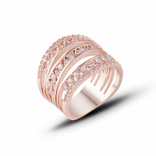 2019 classic rose gold rings high-end temperament hollow AAA zircon fashion ring for woman J02788