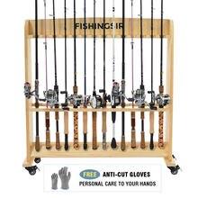 FISHINGSIR удочка для одежды - 28 деревянный держатель штанги с колесами Рыбалка стоять удочка Организатор хранения для всех удочки комбо