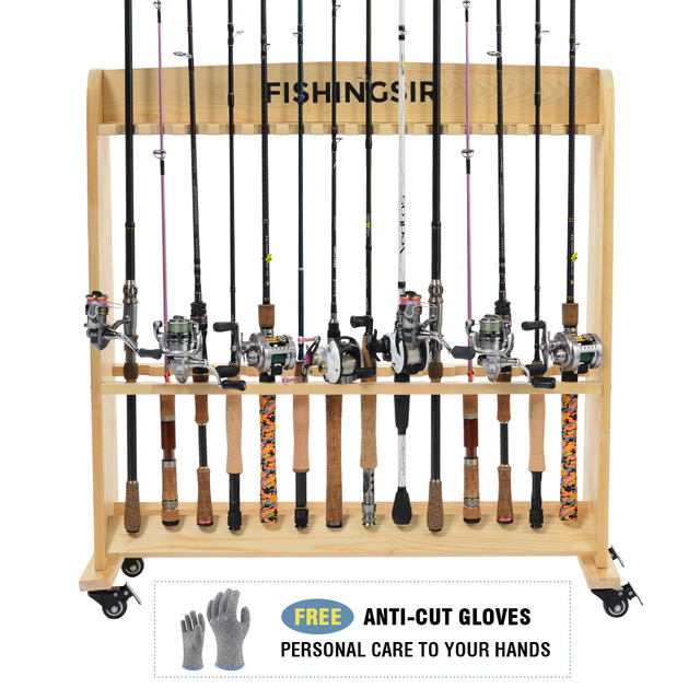 fishingsir fishing rod rack 28 wood rod holder with wheels fishing pole stand rod storage. Black Bedroom Furniture Sets. Home Design Ideas