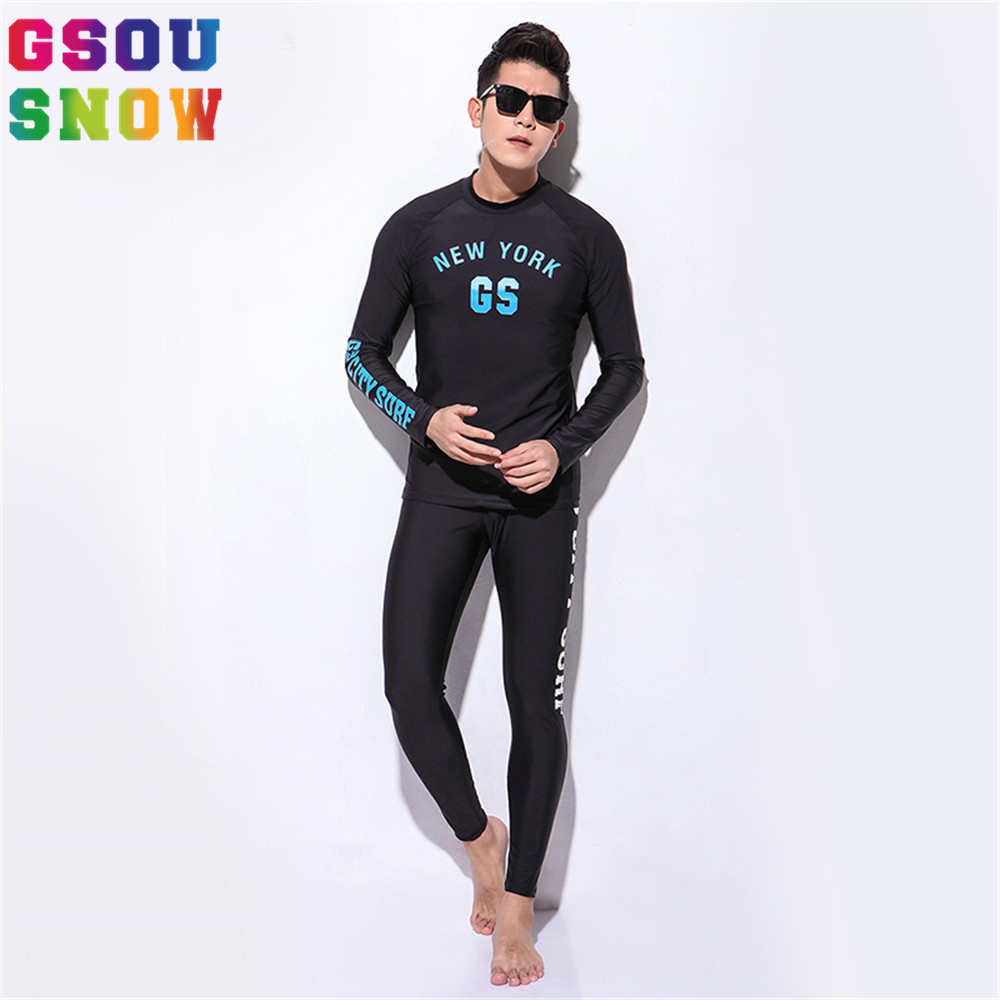 Gsou Snow Brand Wetsuit Diving Swimming Suit Men Long Sleeve Surfing Rash Guards Swimwear Summer Beach Water Sports Clothes  gsou snow brand 2017 men beach shorts quick dry summer board shorts swimming surfing diving motorboat shorts maillot de bain