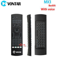 Backlight MX3 PRO Air Mouse With Voice English Backlit MX3 Wireless Keyboard Russian Version 2.4G IR Learning For Android TV Box