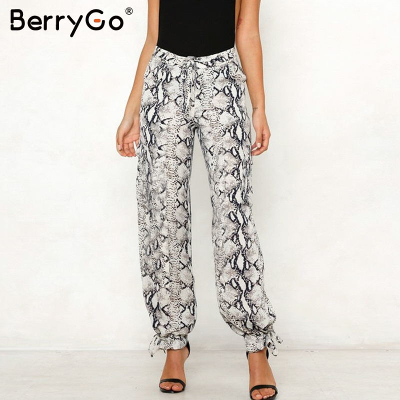 BerryGo Sexy animal print women pants High waist sashes satin long wide leg pants capris Summer spring fashion female trousers