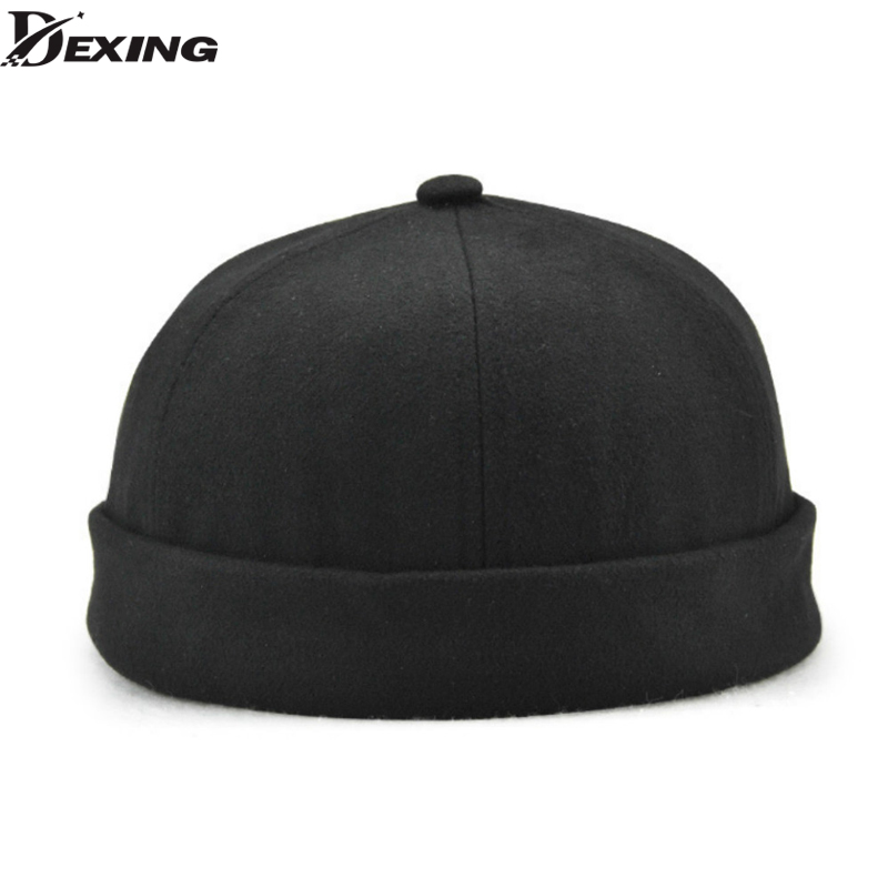 18f982cc48e Solid Cotton Skullcap Brimless 2018 New Casquette Fashion Pumpkin Hat  Beanies for Men Sailor Cap Winter ...