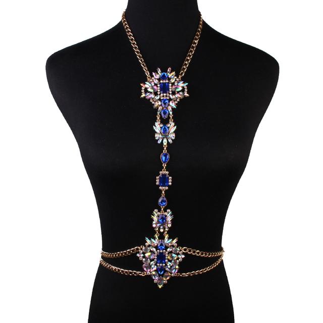 Ladyfirst  Gem Body Chain Luxury  Flower Necklace & pendant