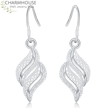 Charmhouse 925 Silver Earrings for Women Leaf Dangle Earing Brincos Pendientes Fashion Jewelry Accessories Party Gifts charmhouse 925 silver earrings for women leaf dangle earing brincos pendientes fashion jewelry accessories party gifts