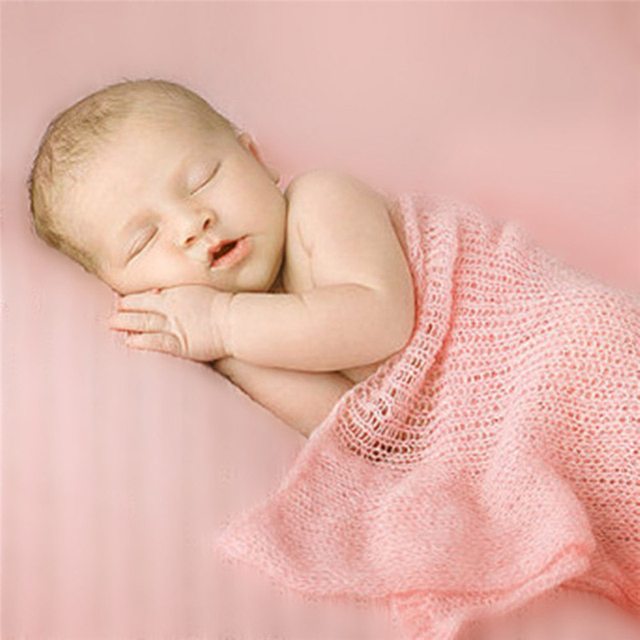 Mohair baby stretch wrap newborn baby photography props blankets knit baby wrap swaddle soft and comfortable