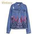 Vintacy Denim женщины куртки джинсы пальто 2017 весенние женщины уличная мода топы пальто осень с длинным рукавом и пиджаки дамы офис Бомбардировщиков