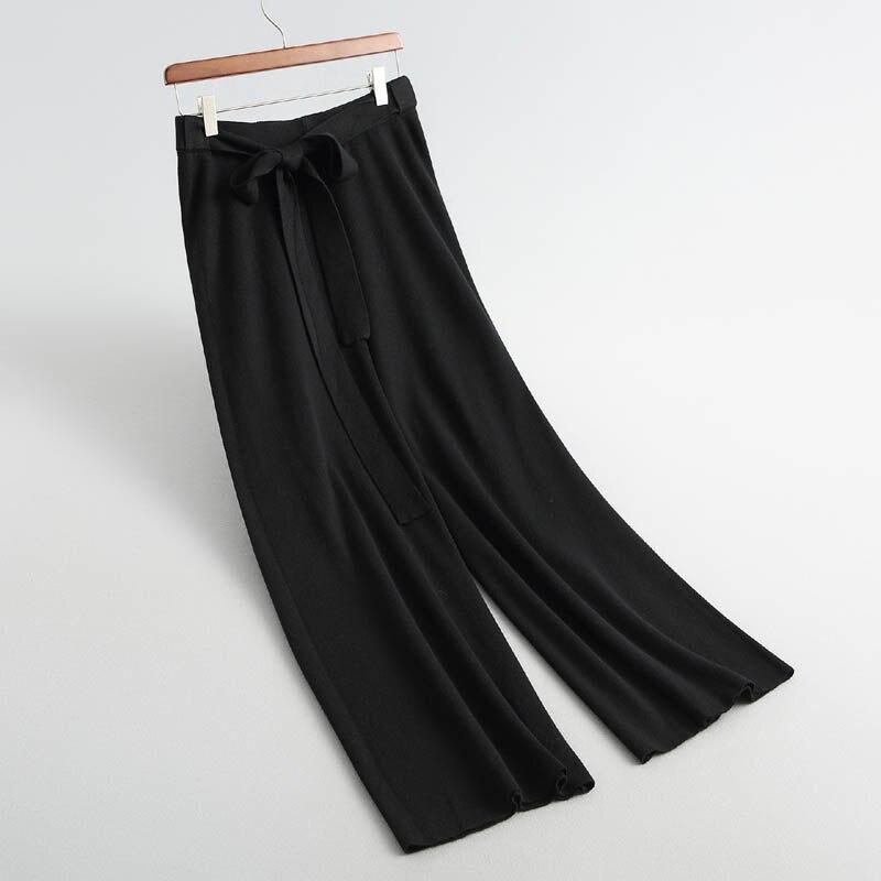 J976 Neue frauen koreanische mode mit sashed bogen knoten breite bein gestrickte hosen damen elegante pullover hosen strickwaren