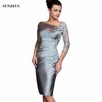 Sliver Three Quarter Sleeve Short Mother Of The Bride Dresses Sheath Appliques Elegant Vestido De Madrinha
