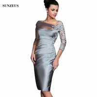 Sliver Three Quarter Sleeve Short Mother of the Bride Dresses Sheath Appliques Elegant vestido de madrinha Mother Groom S626