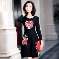 2017 New Fashion Runway Dress Women Long Sleeve Embroidery Black Long Elastic Knitted Pullover Sweater Autumn