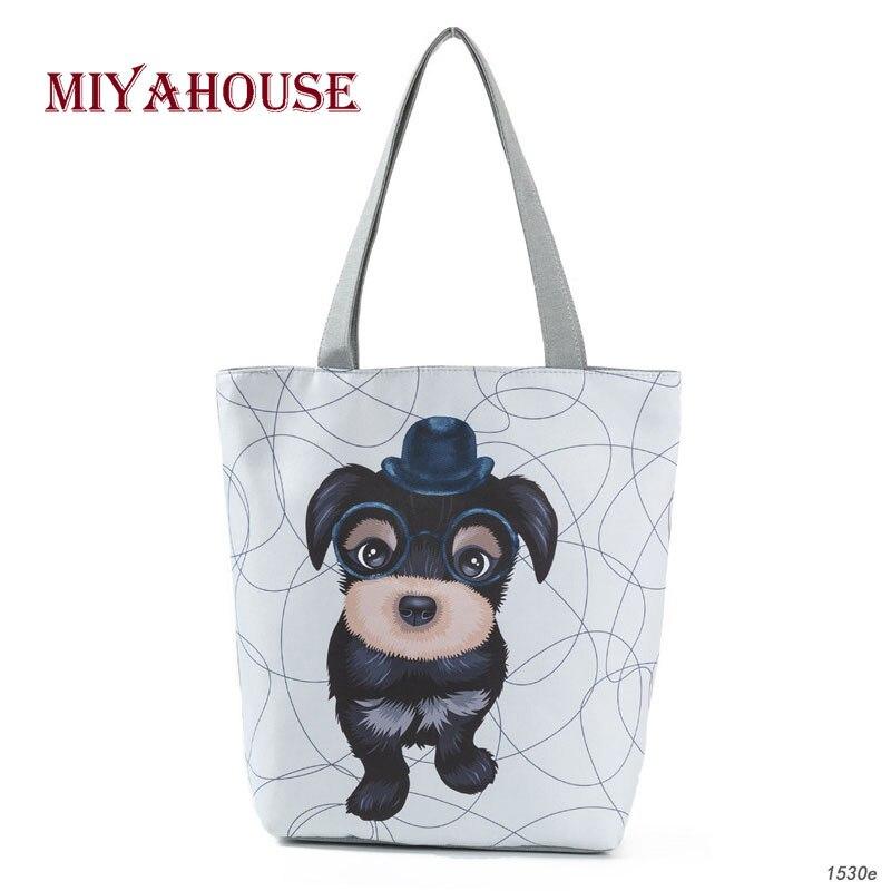 Cartoon Printed Beach Bags Female Canvas Tote Handbags High Capacity Women Daily Use Single Shoulder Shopping Bag