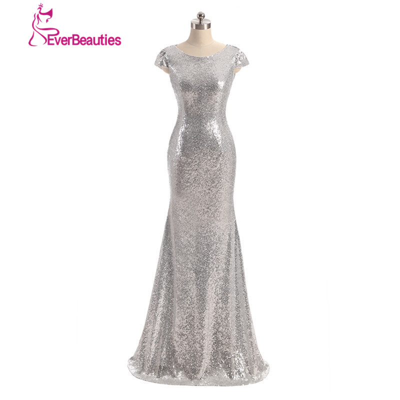 Wedding Party   Dress   Champagne Silver Gold Long vestido longo Sequin Short Sleeve Floor Length   Bridesmaid     Dress   2019 Prom   Dress