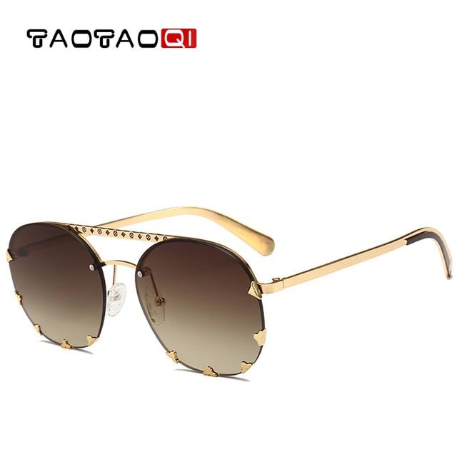 Female Sunglass Sunglasses Metal Shades Luxury Rivet Uv400 49Off In Brand Designer Us7 91 Big Sun Vintage taotaoqi Glasses Frame Women Round ZOPkXTilwu