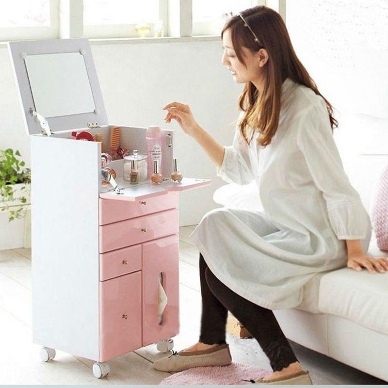Multipurpose dressing table mirrored dresser wood cabinet for Mini makeup desk