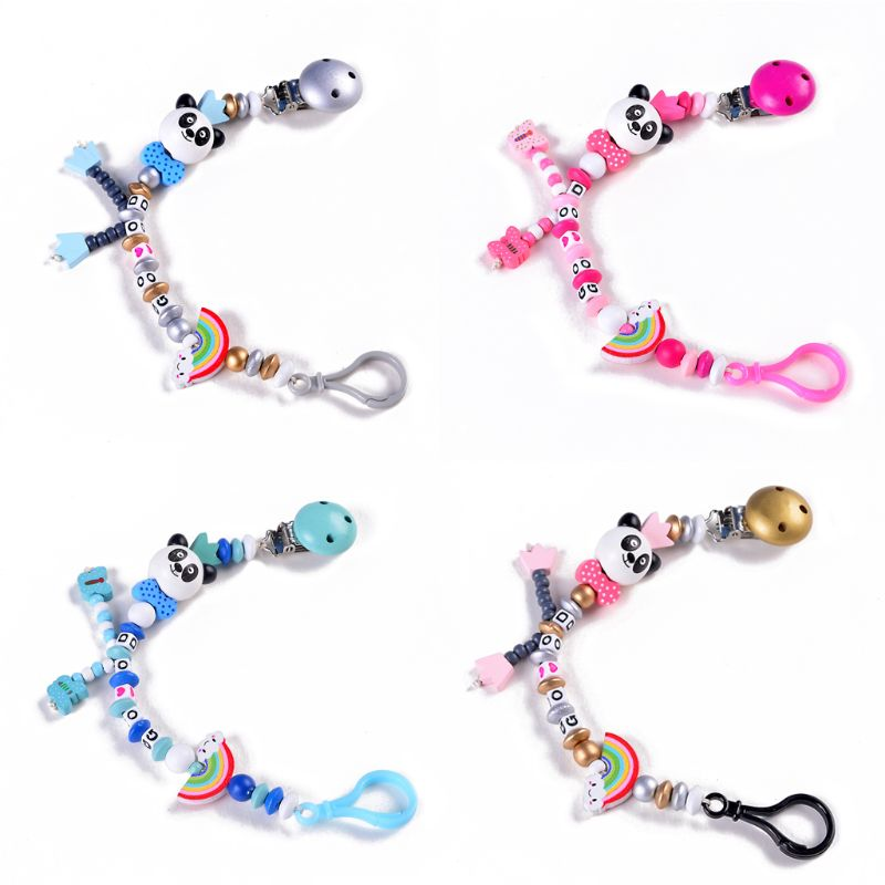 Baby Pacifier Clip Chain Hand Made Infant Boys Girls Cute Panda Letters Toys Teether Pacifier Chain Holder Baby Nipple Feeding