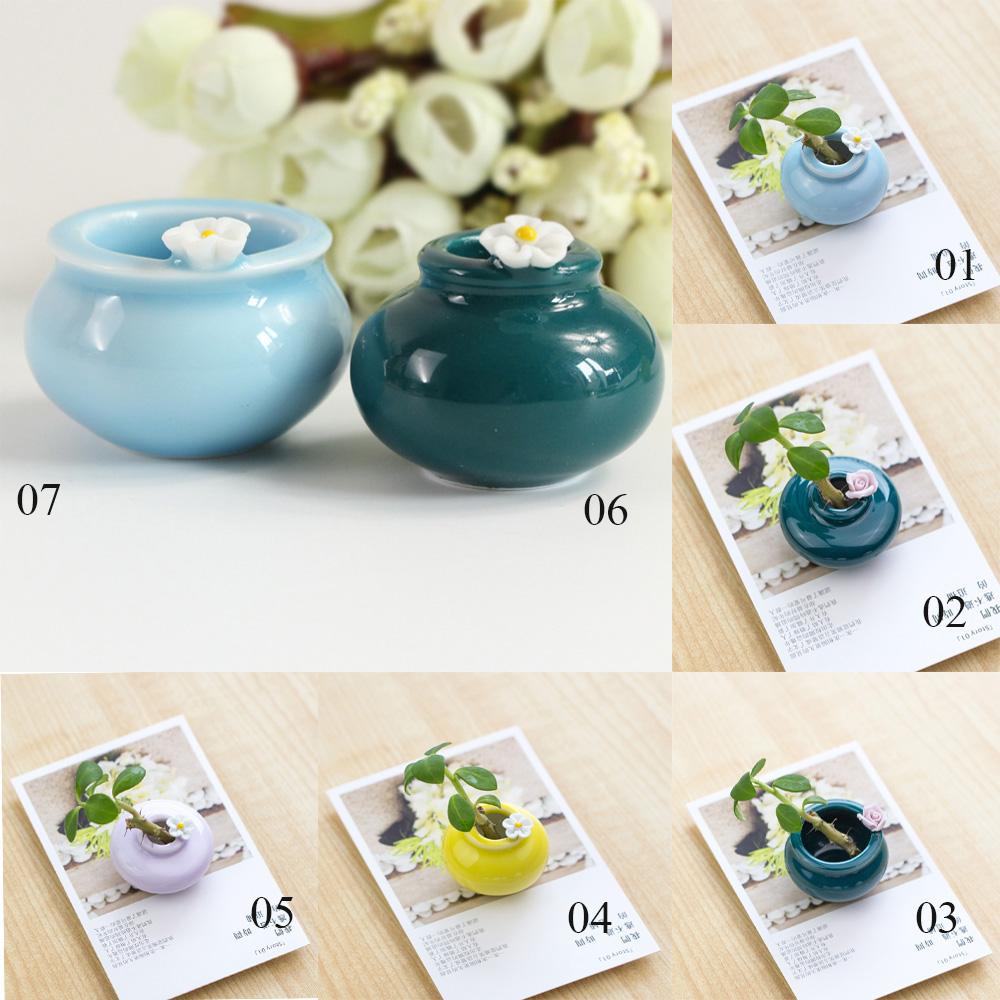 Chinese Traditional Art Cute Tiny Ceramic Flower Vase Home Decoration Bottles Office Decoration Craft Furniture For Display#