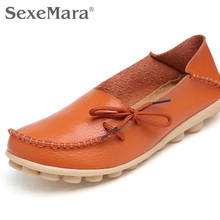 35-44 genuine leather women shoes  spring fashion soft lace-up casual flat shoes peas non-slip outdoor shoes