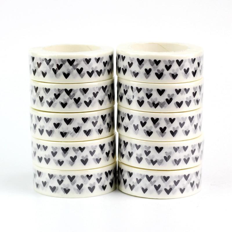 10pcs/lot Cute Black And White Hearts Washi Tapes Paper DIY Decor Scrapbooking Planner Adhesive Masking Tapes Kawaii Stationery
