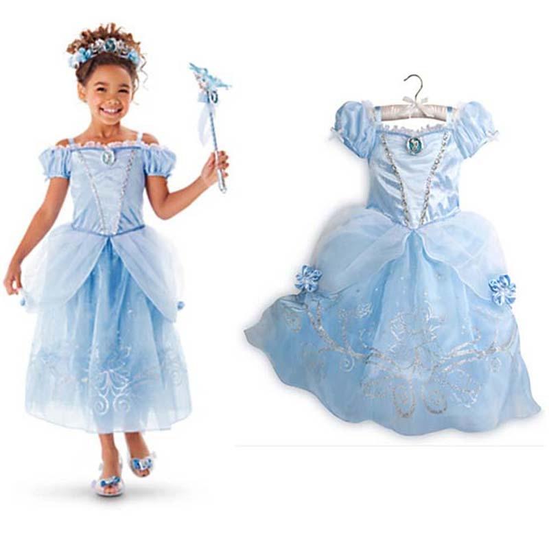 Vestidos para niñas 2018 Moda Sofia Cinderella Rapunzel Belle - Ropa de ninos - foto 6