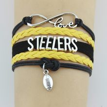 (Drop shipping) Infinity Love Steelers สร้อยข้อมือกีฬา Charm Handmade(China)