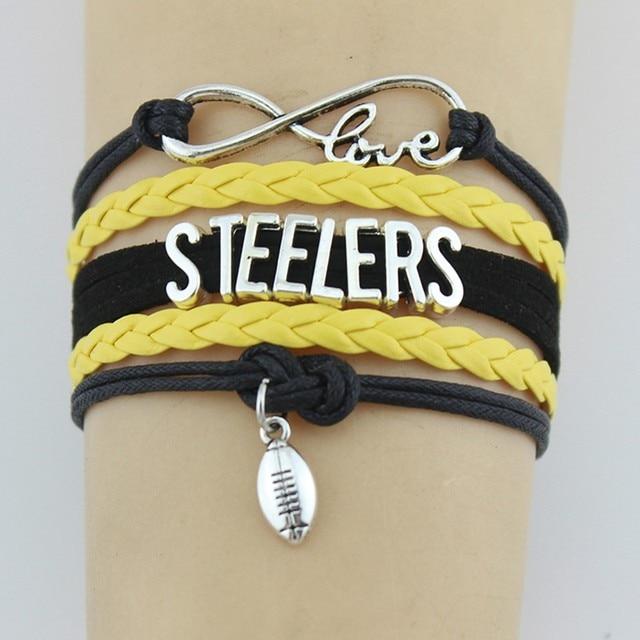 (Drop shipping) Infinity Love Steelers Bracelets Sport Charm Handmade Rope Leather Weave Bangles For Women Men Jewelry Custom
