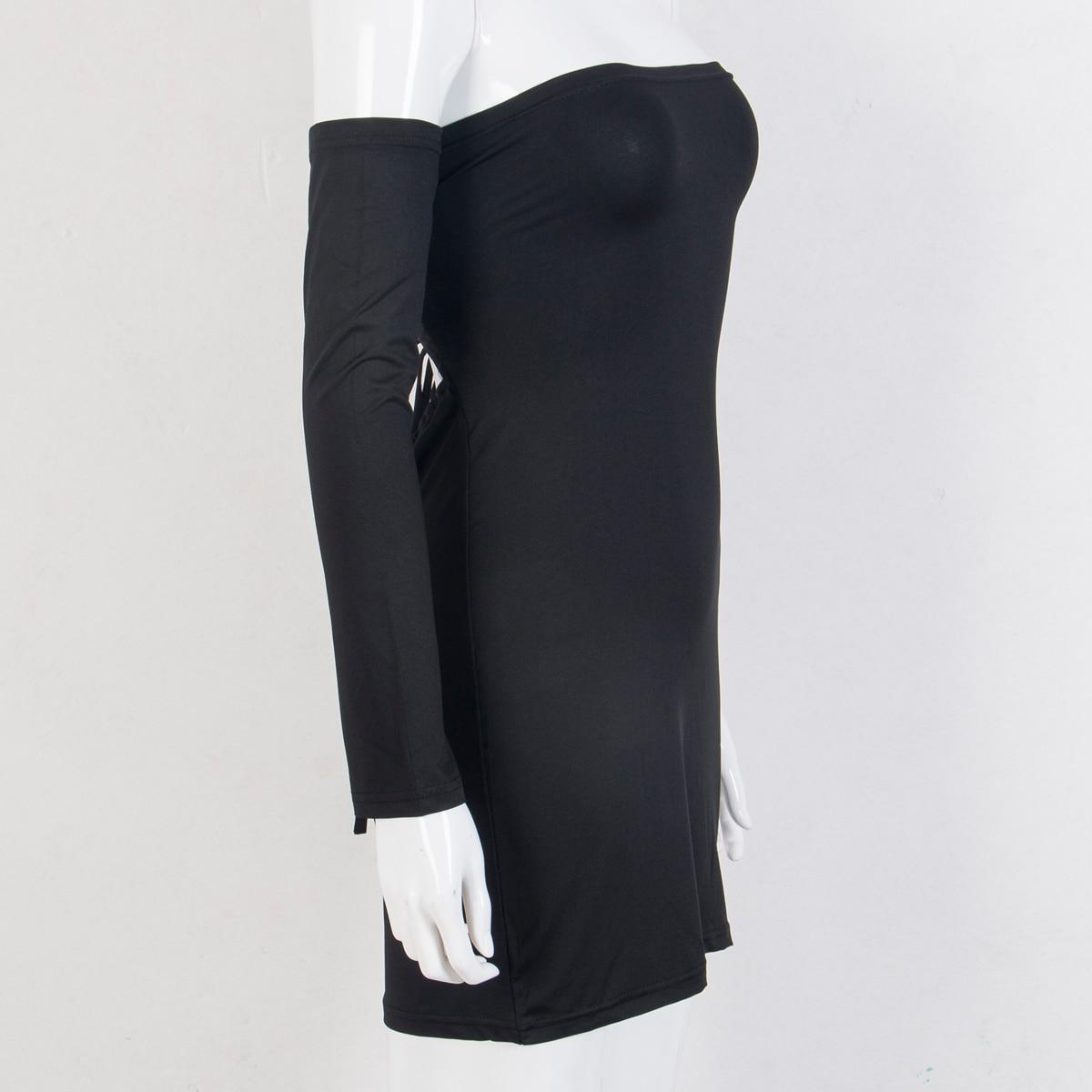 HTB1FjQ6mvBNTKJjSszeq6Au2VXab Hirigin Women's Summer Long Sleeve Slash Neck Hollow Bandage Bodycon Night Club Party Dress