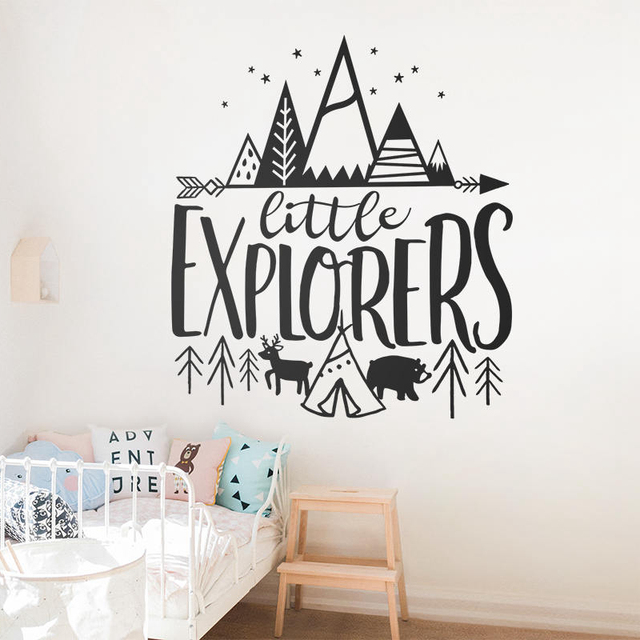 Little Explorer Vinyl Wall Stickers For Baby Nursery Removable Decals Kids Room Woodland Adventure Home