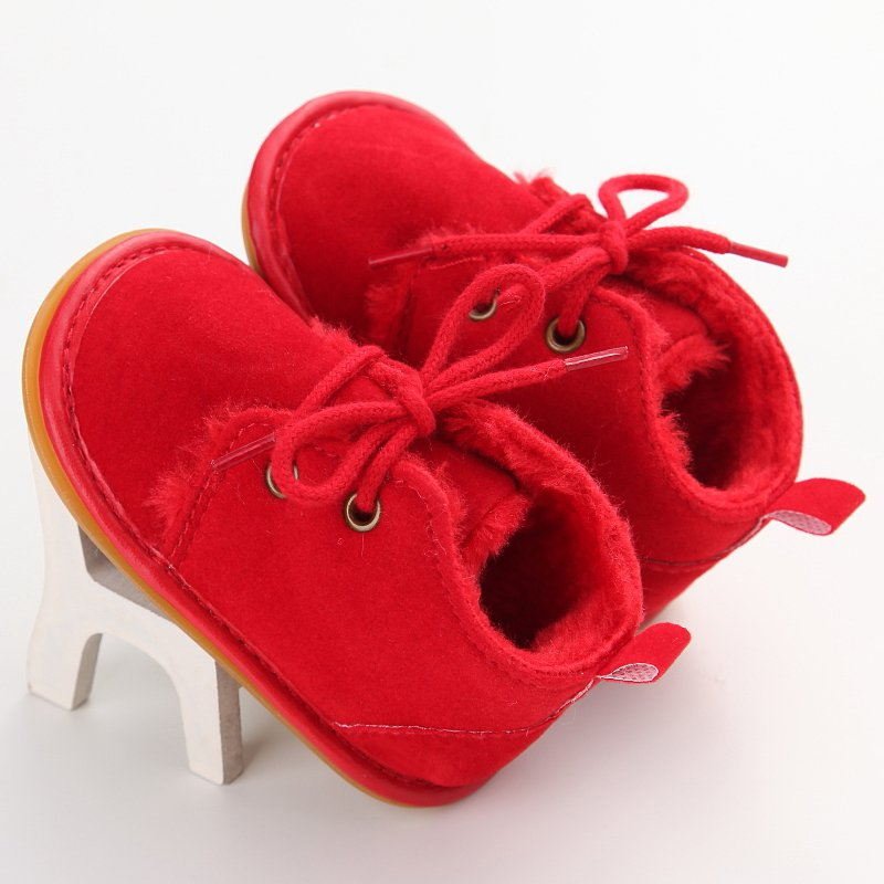 Winter Baby Shoes First Walker Newborn Boy Girl Lace-up Shoes Pre-walker Infant Autumn Baby Warm Villus Shoes Baby Boy