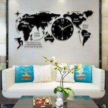 5c221d5f5 الشمال بسيط الاكريليك 3D ساعة حائط ، الإبداعية خريطة العالم ساعة ، الأوروبي  غرفة المعيشة الصامتة ساعة على الجدار لغرفة المعيشة