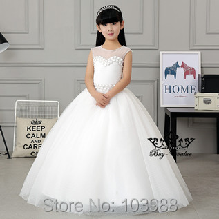 2017 100% real photo free shipping white tulleball gown   Flower     Girl     Dresses   Floor Length wedding party gift birthday   dress