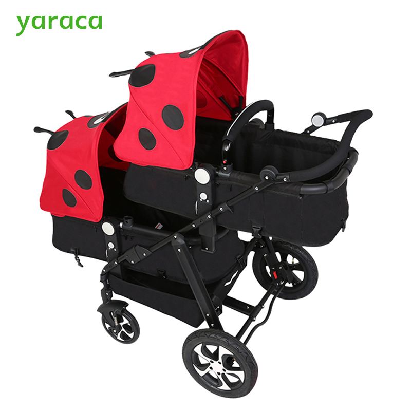 Twins Stroller For Newborns Baby Carriage For Twins Prams Cute Ladybug Panda Pattern Baby Stroller Lightweight Double Strollers folding baby stroller lightweight baby prams for newborns high landscape portable baby carriage sitting lying 2 in 1