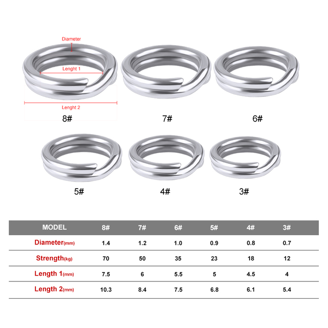 100pcs Fishing Split Rings for Crank Hard Bait Silver Stainless Steel 3#-8# Double Loop Split Open Carp Tool Fishing Accessories 2