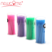 NEWCOME High quality 100pcs/lot Durable Micro Disposable Eyelash Extension Individual Lashes Removing Swab for Makeup Tool