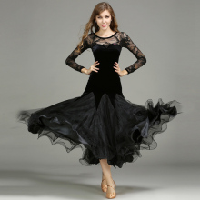 Ballroom Waltz Dance Dresses Women Elegante Lace Long Sleeve Black Modren Tango Dancing Dress Adult Standard Ballroom Costume