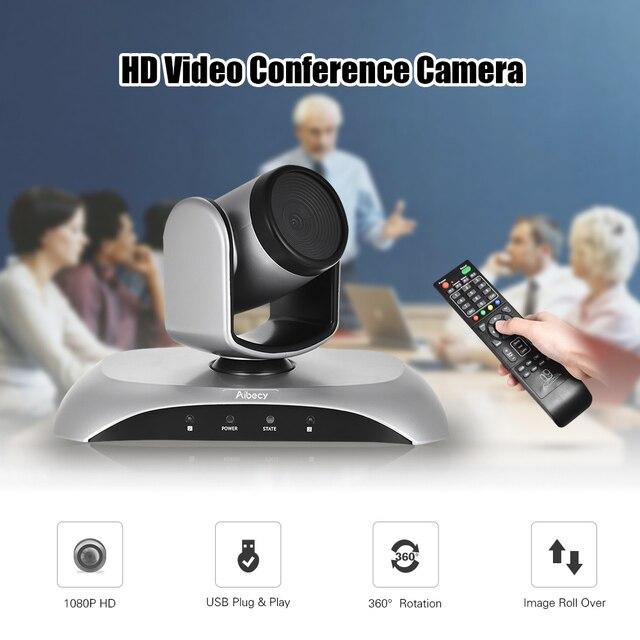 Aibecy 1080P FHD USB видео конференция камера Авто фокус 360De автоматическое сканирование Plug-N-Play с инфракрасным пультом дистанционного управления дл...