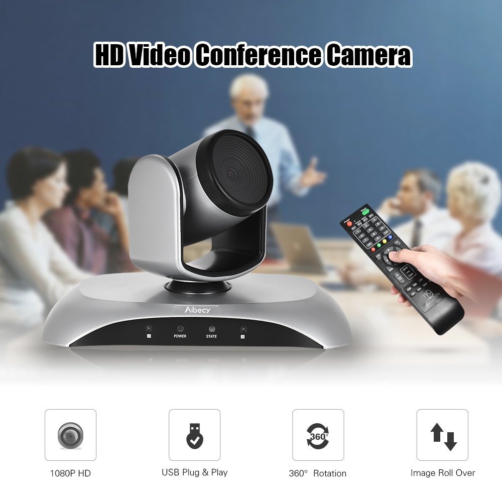 Aibecy 1080P FHD USB Video Conference Camera Auto Focus 360De Auto Scan Plug-N-Play with Infrared Remote Control for offcie work стоимость
