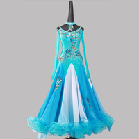 blue sequins ballroom dance competition dresses for ballroom dancing waltz dress smooth ballroom dresses china waltz costumes