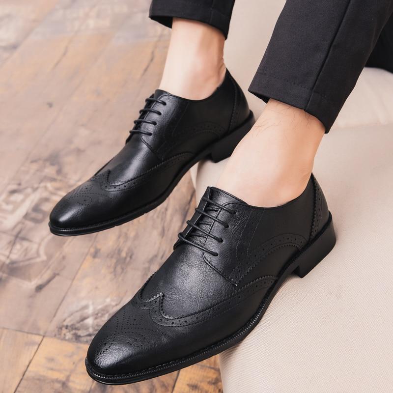 Vestido Negócios L5 Homens Apontado Formal Dedo Apartamentos Marca Flats 47 Black Dos Festa De Tamanho Oxford brown Sapatos Genuíno Couro Grande Casamento wzEgHz6qt