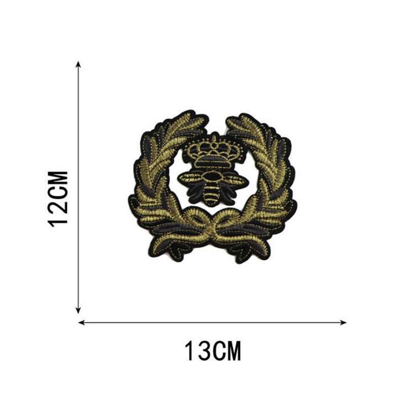 2 шт./компл. вышивка мотивы золотой венок аппликация Корона пчела нашивки значки для сумок одежда пошив скрапбукинга