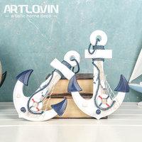 Mediterranean Marine Wall Decoration Wood Boat Anchor Craft Home Decor Accessories Decorative Sea Ocean Figurines And